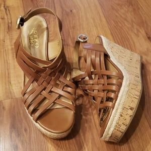 Franco Sarto Size 8  Carmel Strappy Wedge Sandals
